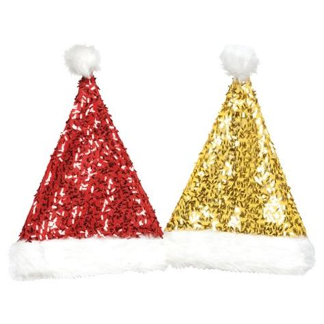 buy festive 45cm red gold sequins santa hats from our