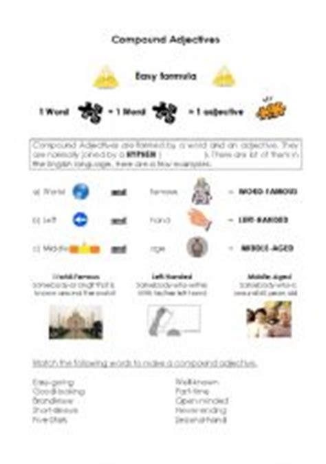 compound adjectives images esl worksheet  anguille