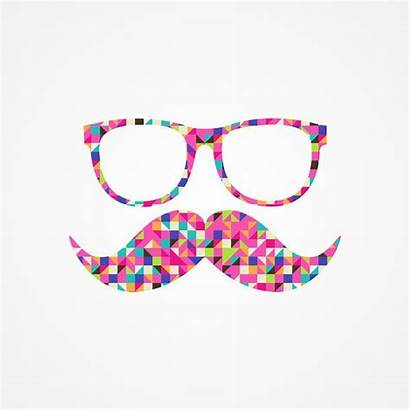 Mustache Glasses Funny Girly Hipster Pink Abstract