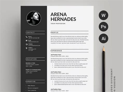 The template is fully editable and comes in both word and psd format. Resume-CV (2 pages)   Resume cv, Resume, Resume templates
