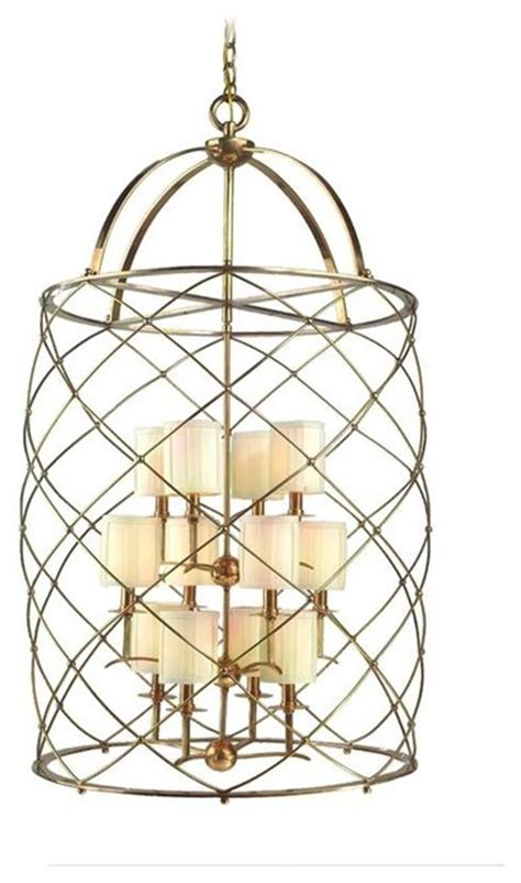 corbett argyle 12 light foyer chandelier in aged brass