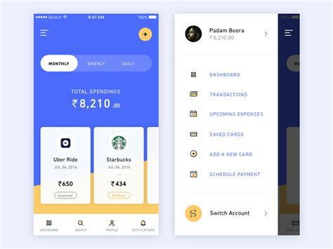 banking app inspiration daily ui design inspiration