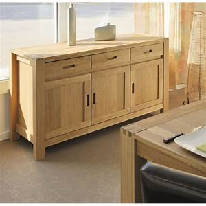 meuble buffet bahut 140cm 3 portes 3 tiroirs chene huile With meuble salle À manger avec buffet original meuble