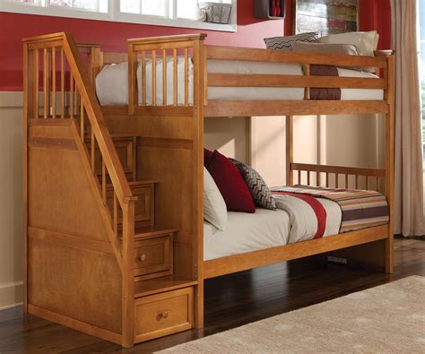 school house  pecan staircase bunk bed bed frames