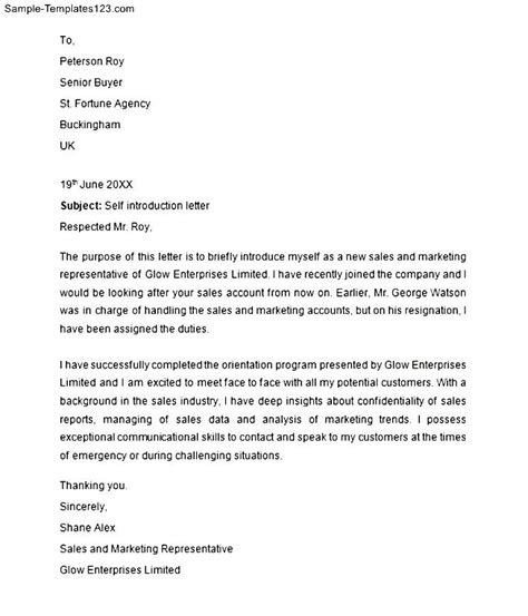 self introduction letter to customers sle real