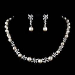 bridesmaid bracelet and earring set timeless pearl cz bridal jewelry set bridal wedding accessories