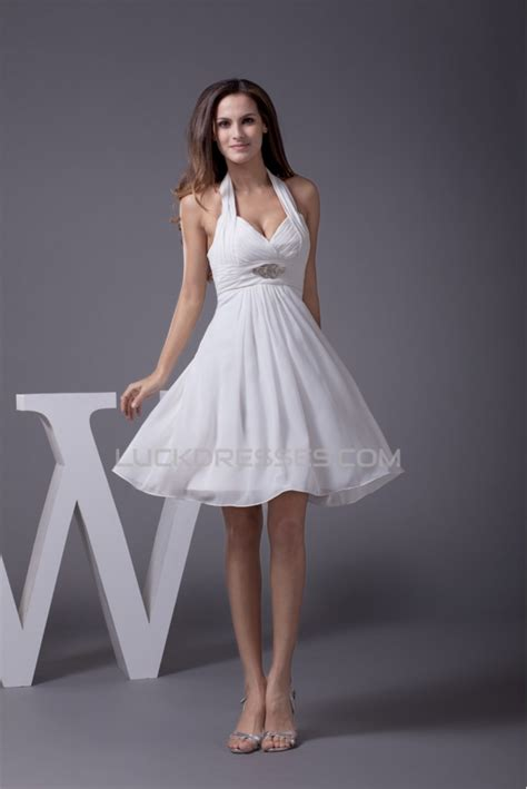 shortmini halter beading chiffon reception wedding