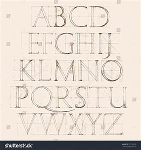 modern roman classic alphabet method geometrical stock With construction alphabet letters