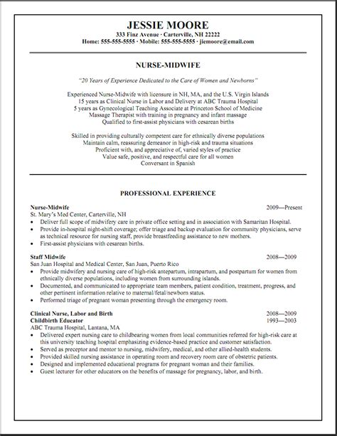 Experienced Nursing Resume by Sle Resumes Labor And Delivery