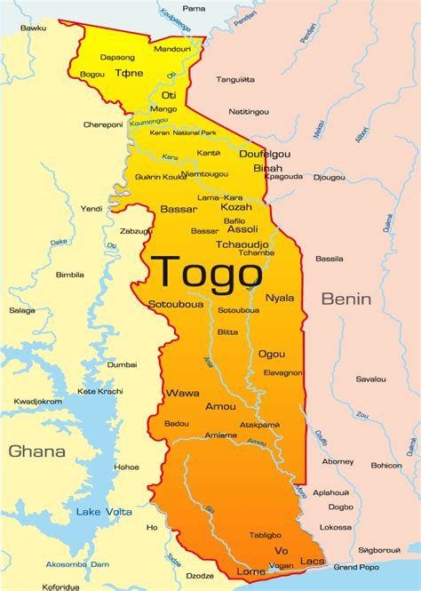 Togo Map Showing Attractions & Accommodation