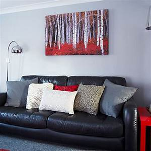 Modern grey and red living room decorating ideal home for Gray and red living room