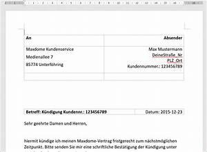 Wohnung Kündigen Per Email : k ndigung maxdome vorlage post und fax codedocu de sonstiges ~ Lizthompson.info Haus und Dekorationen