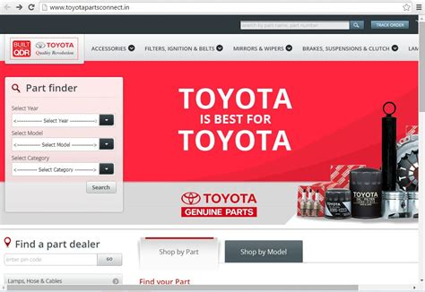 toyota homepage toyota india launches website to sell spare parts and