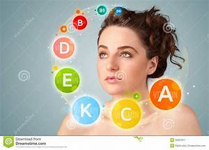 Pretty Young Girl With Colorful Vitamin Icons And Symbols ...
