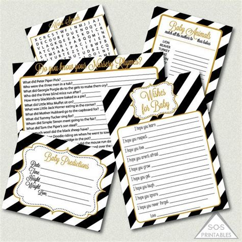 Gamis Gold gold black and white baby shower printable shower