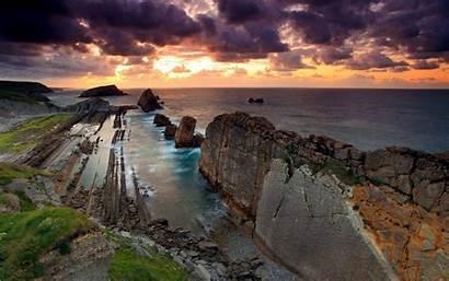Landscape Nature Cliff Rock Sea Sunset Coast