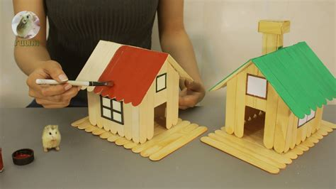 popsicle stick house  hamsters home design diy project youtube