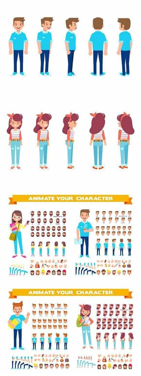 They can cover any subject and, thanks to their ability to transform often boring figures into vivid, memorable. Vector Students for animation | Animation, Cartoon styles ...
