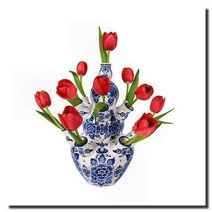 delft blue  white tulip vase blue  white tulips