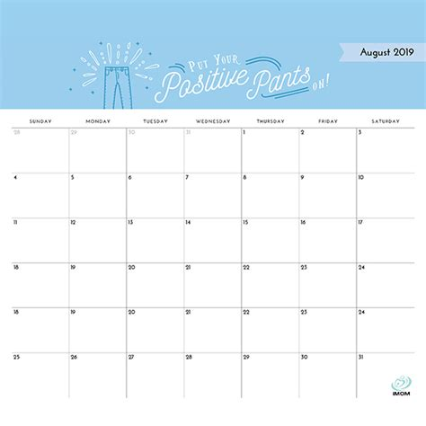 positive thoughts printable  calendar imom