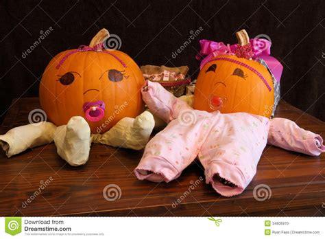 pumpkin babies  onesies wide angle stock photo image
