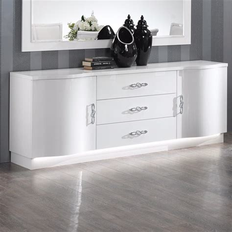 High Sideboards by Hazel Sideboard In White High Gloss With Flat Base And Led