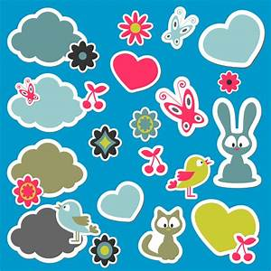 cartoon sticker design vector free vector graphic download With design stickers online free
