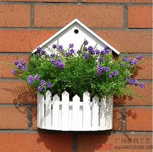 Simple, White, Wood, Wooden, Fence, Wall, Hanging, Basket, Flower, Basket, Flower, Pots, Decorative
