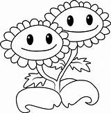 Sunflower Coloring Zombies Plants Vs Twin Pages Printable Smiling Categories Coloringpages101 sketch template