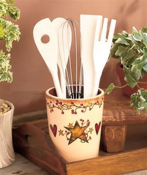 hearts and kitchen collection country primitive berry utensil crock holder