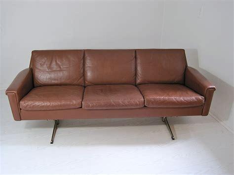mid century brown leather sofa mix vintage