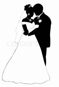 Wedding couple silhouette isolated on ... | Stock Vector ...