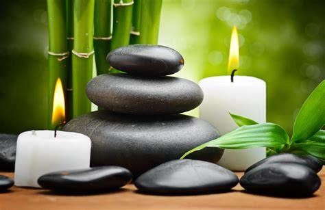 spa stones leaves bamboo hd wallpaper