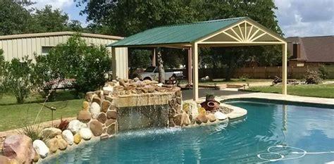 Custom Free Standing Awning Over Swimming Pool La Vernia