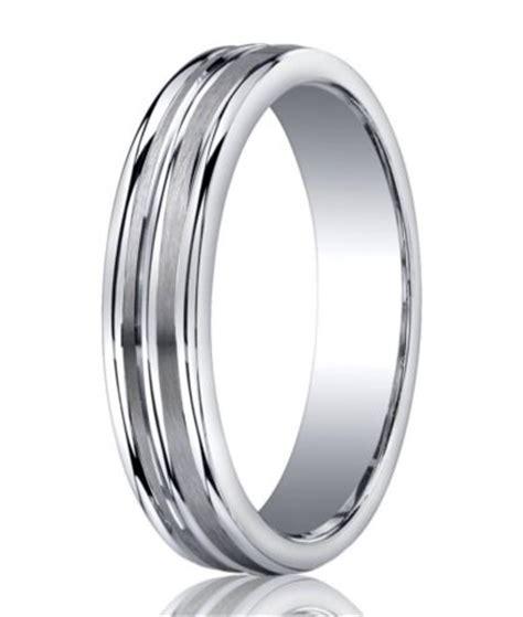 mens designer silver satin wedding band 3 polished edges