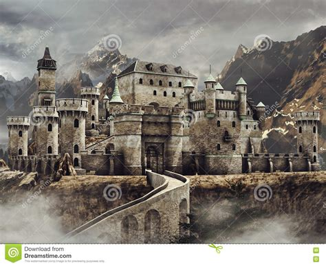 castle in the mountains stock illustration image