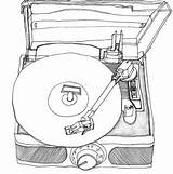 Drawings Record Drawing Vinyl Player Line Sketch Easy Turntable Vnyl Album Tattoo Besuchen Guardado Desde sketch template