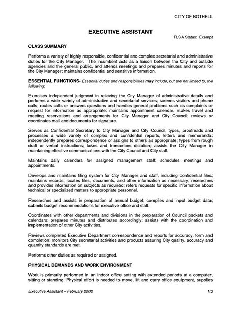 Description Resume by Executive Assistant Description Resume Free Sles