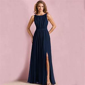 b7199 new cheap navy long bridesmaid dresses chiffon scoop With formal wedding dresses for women
