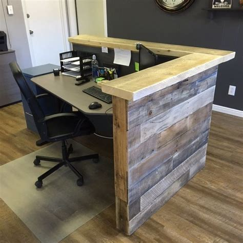 reclaimed pallet wood reception desk wood reception