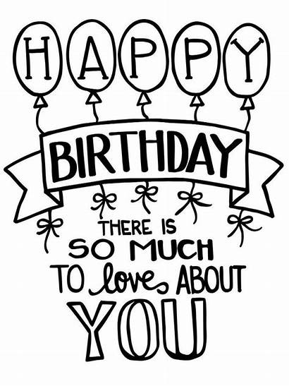 Birthday Happy Quote Coloring Printable Pages Categories