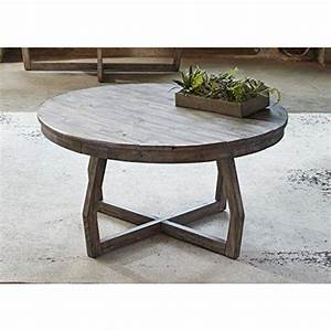Modern rustic reclaimed gray wood round console cocktail for Rustic gray wood coffee table