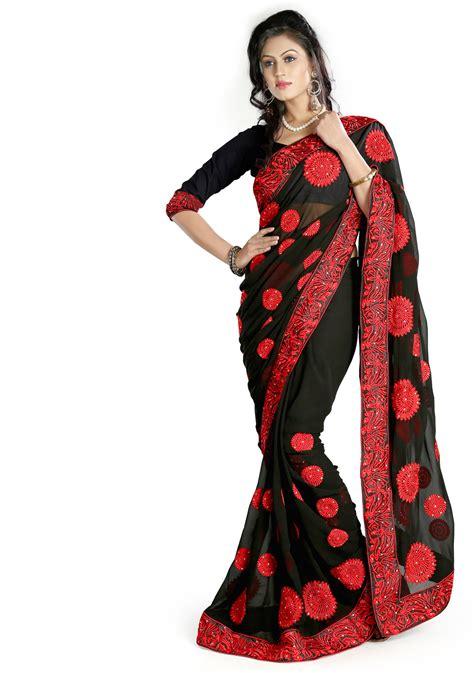 black saree blouse black georgette saree with blouse 58474