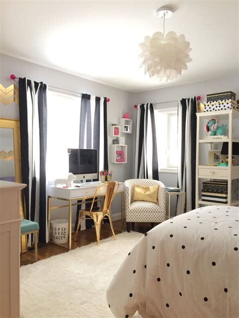 Black, White And Chic All Over Teen Bedroom Makeover