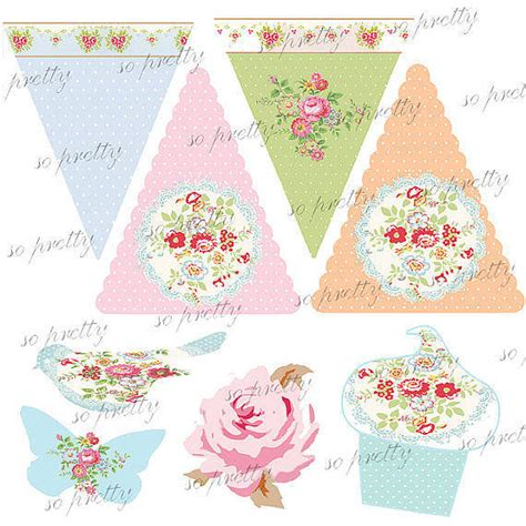 printable tea party decorations kit  beautiful day notonthehighstreetcom
