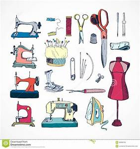 Sewing tools kit, colored stock vector. Illustration of ...