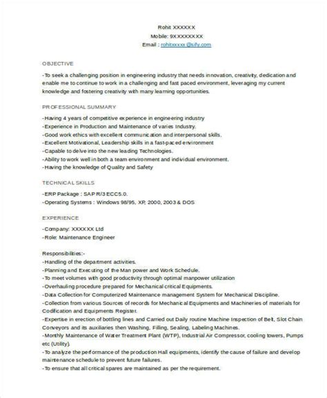 sle mechanical engineering resume doc 28 images about