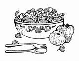 Salad Clipart Coloring Clip Fruit Healthy Fun Bowl Vegetable Printable Betcha Sheets Vector Tossed Gardens Rocks sketch template