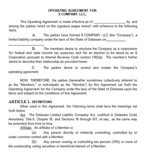 Corporate Partnership Agreement Template by 8 Sle Operating Agreement Templates To