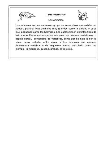 Texto Informativo, Sobre Los Animales